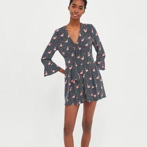 9c30807b Zara Dresses | Printed Jumpsuit Dress Polka Dot Flamingo S | Poshmark